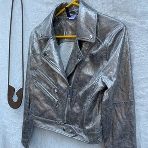 Divided Jackets & Coats - Divided Silver Moto Jacket